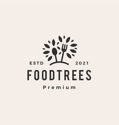 foot tree fork spoon hipster vintage logo icon vector image