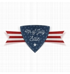 Fourth of July Sale Label with Ribbon vector image