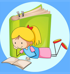 Girl reading book with green book in background vector