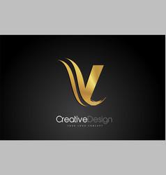 Gold metal v letter design brush paint stroke vector