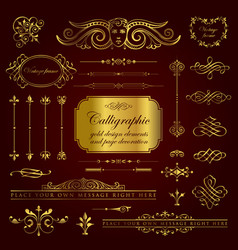 golden calligraphic and page decoration elements vector image