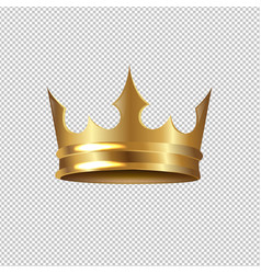 golden crown isolated transparent background vector image