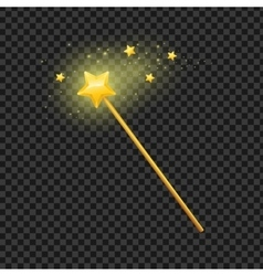 Golden Magic Wand with Star vector