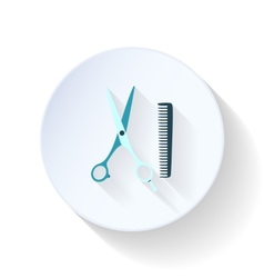 Hairdressing scissors and comb flat icon vector image