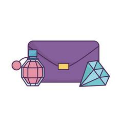 handbag fragrance and diamond icon on white vector image