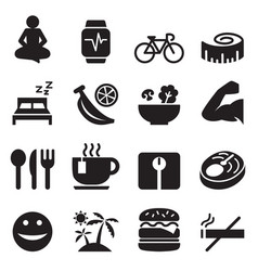 Healthy icons set vector
