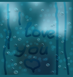 Heart hand drawn on window covered with rain drops vector