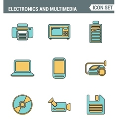 Icons line set premium quality of home electronics vector image