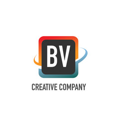 initial letter bv swoosh creative design logo vector image
