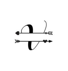 initial v love monogram split letter isolated vector image
