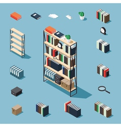 Isometric bookcase and elements vector image