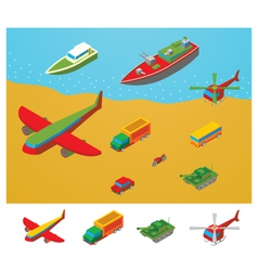 Isometric Transportation collection vector