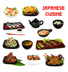 Japanese cuisine soup salad and seafood stew dish vector