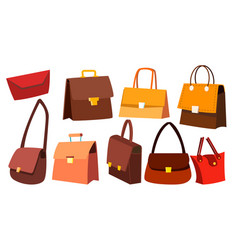 leather bag set woman retro vintage vector image