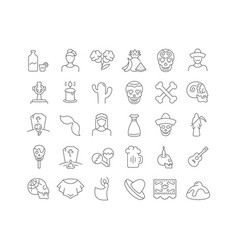 Line icons day dead vector