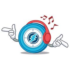 Listening music electroneum coin mascot cartoon vector