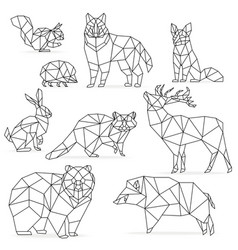 Low poly line animals set Origami poligonal line vector image