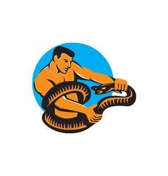 Man Fighting Boa Constrictor Snake Retro vector