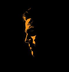 Man portrait silhouette in backlight vector