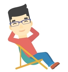 Man sitting in a folding chair vector image