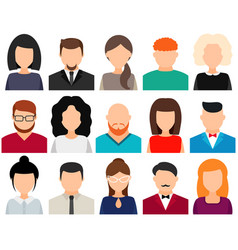 Men and women avatars without face icon set vector