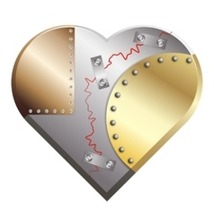 Metal heart cracked assembled from copper silver vector image