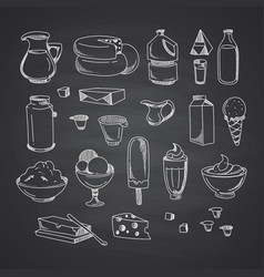 milk or dairy products set hand drawn vector image