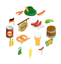 Oktoberfest party isometric 3d icons vector