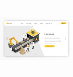 Packing industrial assembly stage landing page vector