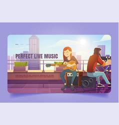 perfect live music cartoon landing singer woman vector image