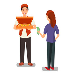 pizza delivery man and customer flat characters vector image