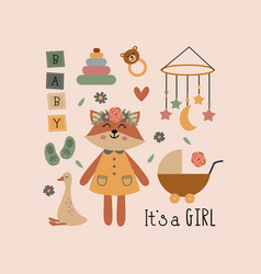 poster with fox girl and bohemian elements vector image