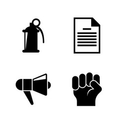 Protest strike riot simple related icons vector