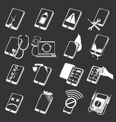 Repair phones fix icons set grey vector
