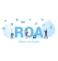 Roa return on assets concept with big word or vector