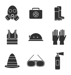 Safety equipment icon set vector