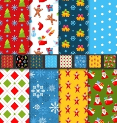 Set Christmas Seamless Patterns vector image