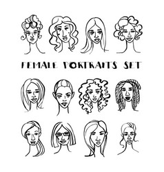 set female doodle hand drawn portraits black vector image