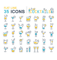 set line icons cocktails vector image