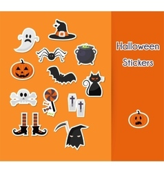 set of Halloween sticker icons vector image