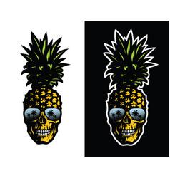 skull pineapple in sunglasses on a light and dark vector image