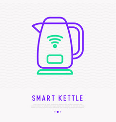 smart kettle thin line icon vector image