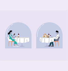 Social distance in restaurant a man and a woman vector