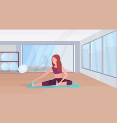 Sporty woman doing stretching exercises girl vector