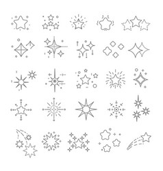 star-shaped objects or stars and sparkles isolated vector image