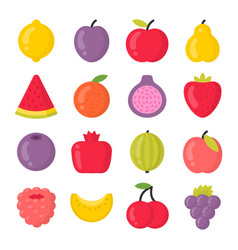 Sweet fruits isolated colorful icons set vector