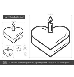sweet heart cake line icon vector image