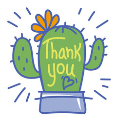 thank you card with cute cactus succulent vector image