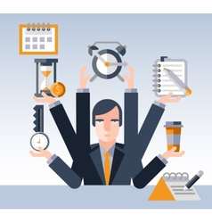 Time management businessman vector