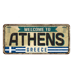 welcome to athens vintage rusty metal sign vector image